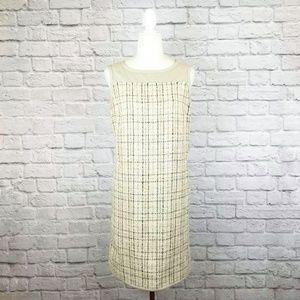 'S MaxMara tan tweed sleeveless sheath dress
